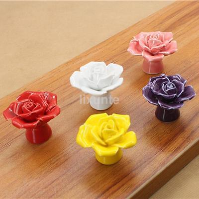 Rose Flower Vintage Ceramic Drawer Pull Handle Unique Cabinet Knobs Pink US