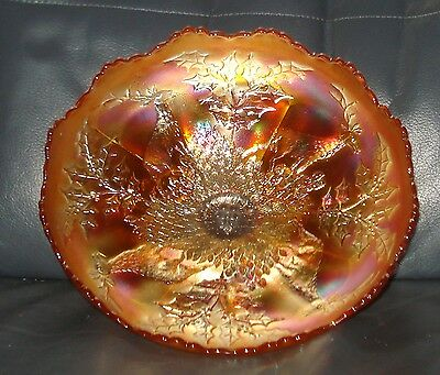 Carnival Glass Bowl - Fenton Stag & Holly - LARGE 10-11 inch
