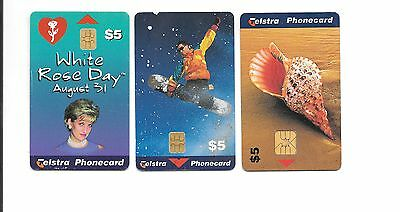 3 x Telstra $5 Phonecards  USED