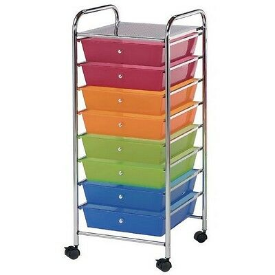 Blue Hills Studio Storage Cart 8-Drawer (Wide) Multi-Colored-SC8MC-12 NEW