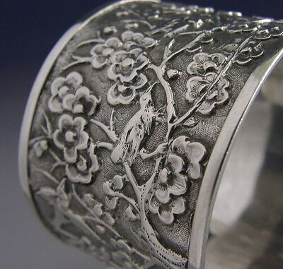 STUNNING CHINESE EXPORT SILVER BIRDS BLOSSOM NAPKIN RING c1880 ANTIQUE