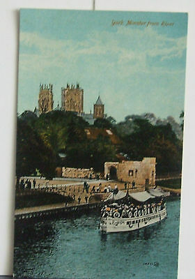 Vintage Postcard of York Minster from the River