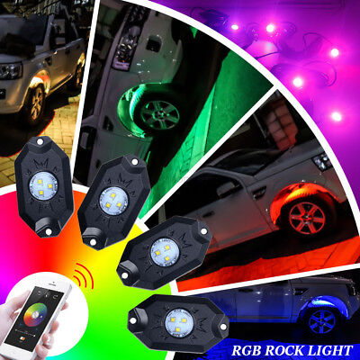 LED Rock Lights Waterproof Wireless Bluetooth Music RGB Color Accent Under Car