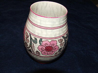 Stunning Hand Painted Crown Ducal Pink Tube Lined Lustre Vase Charlotte Rhead ?