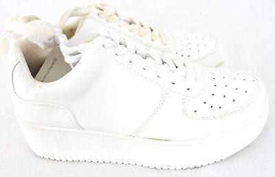 Ladies Size 4 White Platform Sole Lace Up Trainers In Season Shoes Leather Look