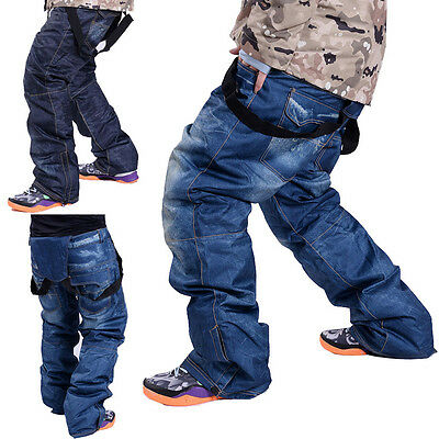 Winter Men's Denim Waterproof Ski Pants Outdoor Sports Snowboard Trousers Travel