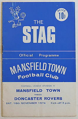MANSFIELD TOWN Vs DONCASTER ROVERS Programme - 16 November 1974 - Division 4