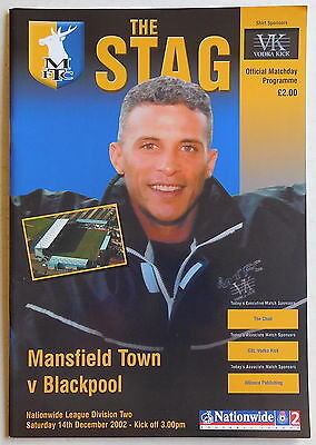 MANSFIELD TOWN Vs BLACKPOOL Programme - 14 December 2002 - Division 2