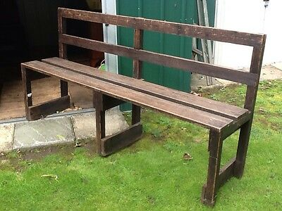 Vintage wooden chapel church pew bench seat .