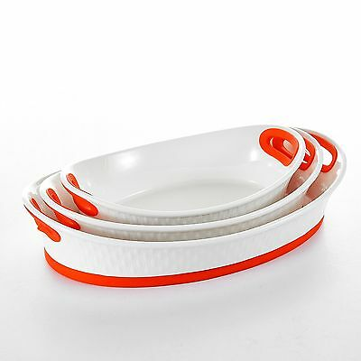"""3-Piece 12""""&13.5""""&15.5"""" Bakeware Pans Porcelain Baking Plates with Red Silicone"""