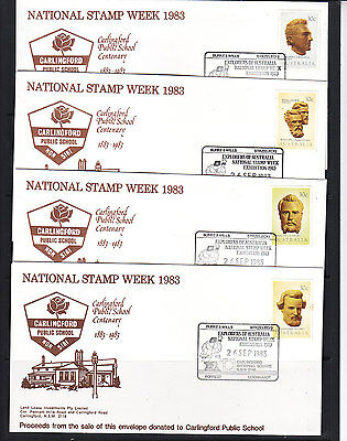 Souvenir Cover: 1983 National Stamp Week Carlingford School Set Of 4 Solo Covers
