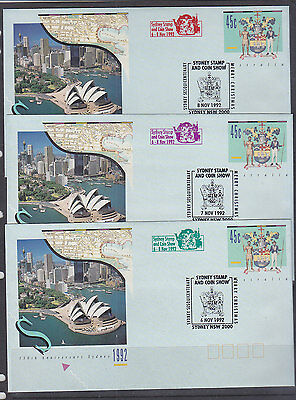 Souvenir Covers: 1992 Sydney Stamp & Coin Show  Set Of 3 Covers