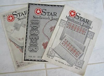 3 Antique Sewing Magazines 1925 STAR NEEDLEWORK JOURNAL Crochet Embroidery et al