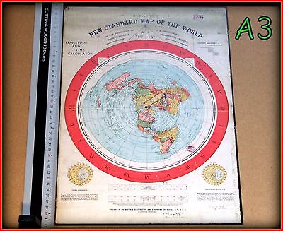 [Flat Earth] A3size Print, Gleason's New Standard Map of  World 1892 - AS IT IS