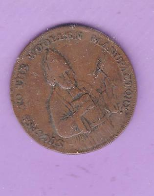 1792 Exeter Wool Trade Halfpenny Conder Token, Usa Interest   F7