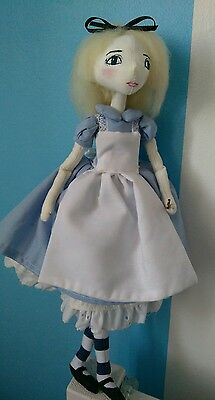 OOAK Alice in Wonderland, Handmade Art Doll ,