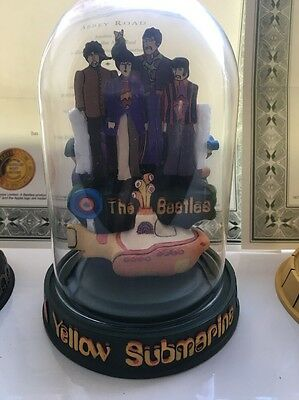 Franklin Mint - The Beatles 'Yellow Submarine' Glass Dome Model - Collectable