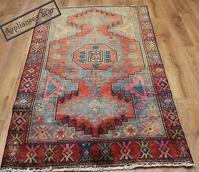 Old Wool Hand Made Persian Oriental Floral Runner Area Rug Carpet 180X100 Cm