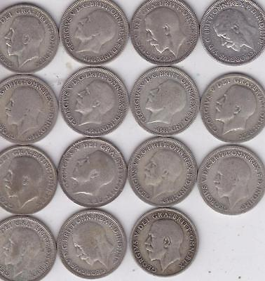 16 Uk Silver Sixpence Coins 1920-1936 All Different Dates    F37