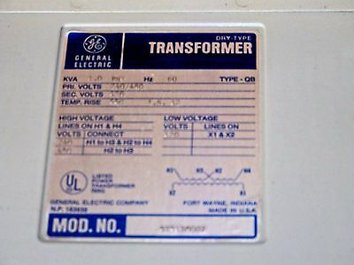 1 KVA power transformer 480-240 to 120 9T51B8007 GE