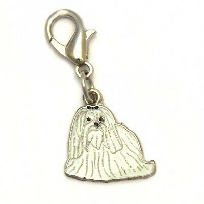 Maltese Dog Handbag Charm Keyring Dog Puppy Metal Enamel