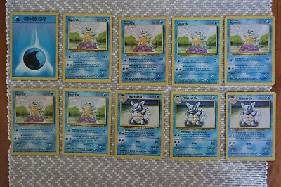 Pokemon Card Lot - Squirtles and Warturtles (10 Cards - Base Set)