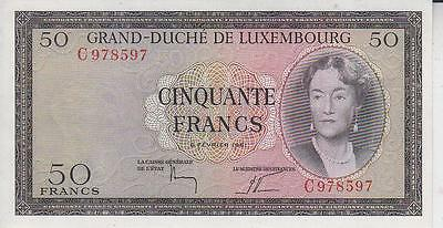 c.1961 LUXEMBOURG 50 FRANCS BANKNOTE,GRAND DUCHESS CHARLOTTE, UNC     F48