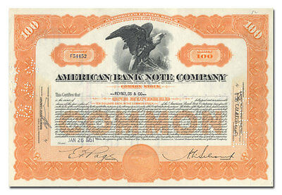 American Bank Note Company Stock Certificate