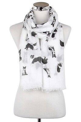 Border Collie Dog Scarf Shawl Wrap Great Gift for Dog Lover White FREE P&P