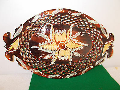 Vintage Wood Painted Decorative Bread Dish Tray With Hand Carved Sections