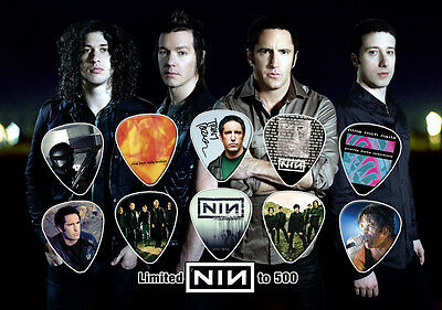 Nine Inch Nails guitar picks on photo display LIMITED