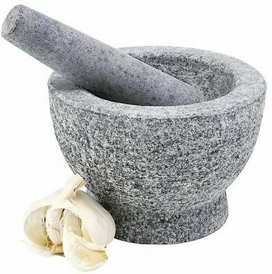 Natural Granite Pestle And Mortar Spice Herb Crusher Grinder Grinding Paste. New