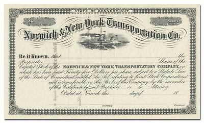 Norwich & New York Transportation Company Stock Certificate