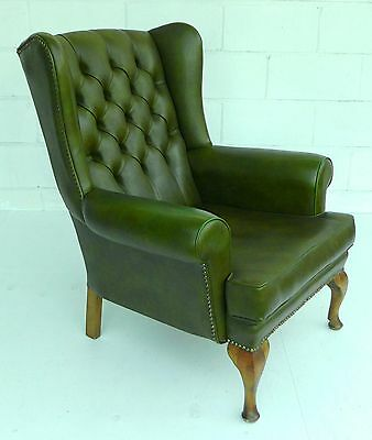 Green Leather Back Wing Chair