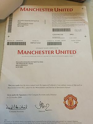 Manchester United Share Certificate