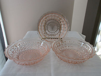 Depression Era Jeannette Glass BUTTONS & BOWS HOLIDAY Pink Dessert Bowls THREE