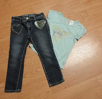 Girls Guess size 5-6 s/s blue shirt and size 5 denim straight jeans