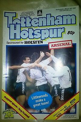 Tottenham v Arsenal 1987 League Cup Semi Final Replay 4th March  Programme