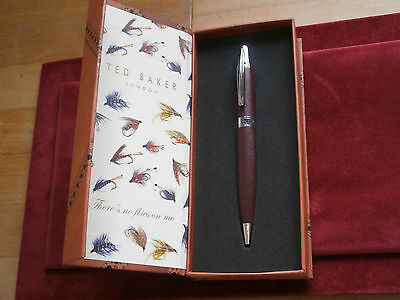 ted baker brown faux leather pen in nice presentation case great gift new