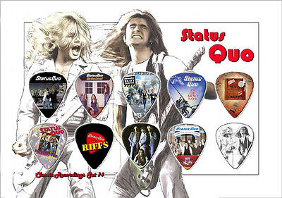 Status Quo guitar picks on photo display LIMITED