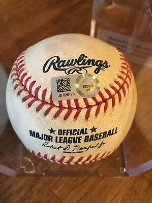 Nomar Mazara Texas Rangers Game Used Pitched Baseball Chatwood Colorado Rockies