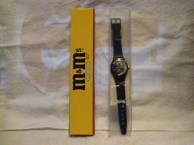 NEW 1996 ENGRAVED SPECIAL EDITION M&M'S WATCH Blue Peanut playing SAXOPHONE
