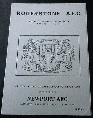 1990 ROGERSTONE AFC v NEWPORT (COUNTY) AFC programme (Rogerstone Centenary Year)