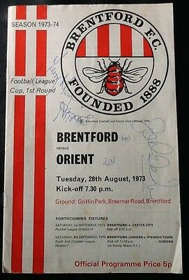 1973 BRENTFORD v ORIENT - League Cup 1st Round- SIGNED PROGRAMME John Docherty