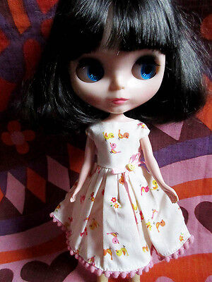 Cute white dress for Blythe doll with tiny chicks fabric