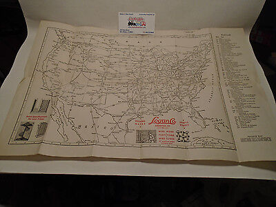"""1942 Vintage Map Of Railroads In United States 13"""" X 19"""""""