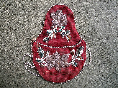 Native American Beaded Pocket Watch Pouch .              Tribal item .