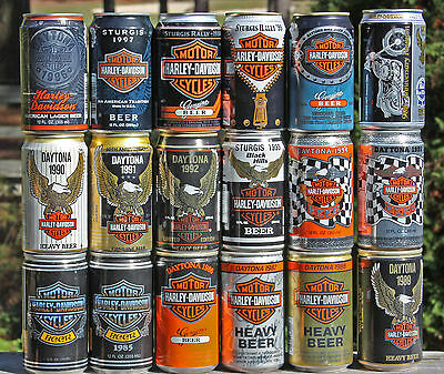 Harley Davidson Beer Cans Complete set of Every Yr + 90th Anniversary Can