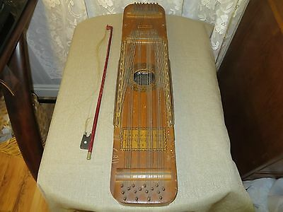 Antique Ukelin 16 String Musicial Instrument Circa 1920's With Bow