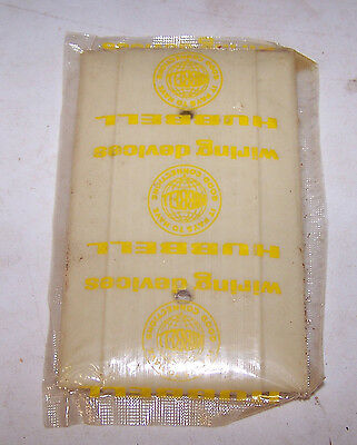 Vintage IVORY Hubbell Brand SOLID Electrical Box COVER Bakelite Ribbed